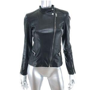 H&M Sz 4 Vegan Leather Moto Jacket Black Zipper